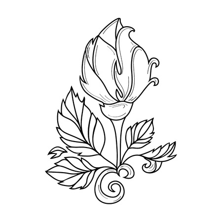 Illustration pour vector hand drawn sketch style elegant vintage rose wild flower with stem, leaves and blooming blossom black and white silhouette monochrome. Isolated illustration on a white background. - image libre de droit