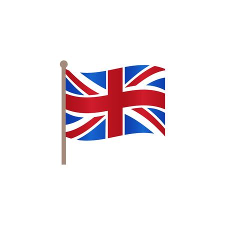 Ilustración de Vector flat Great Britain, United Kingdom union jack flag icon. Illustration on a white background. English national cultural state symbol for your design. - Imagen libre de derechos