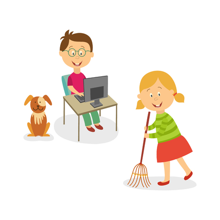 Illustrazione per Vector flat kids doing household chores set. Girl cleaning, sweeping the floor by broom, dog puppy pet sitting near, boy working at desktop computer in glasses. - Immagini Royalty Free