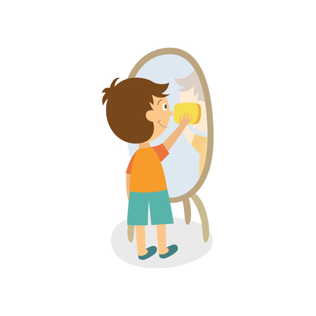 Ilustración de Vector flat boy kid cleaning mirror in hallway wiping it by rag. Household chores. Isolated illustration on a white background. Daily children routine concept. - Imagen libre de derechos
