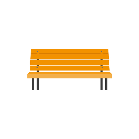 Illustration pour Stylized flat style wooden park bench, front view illustration isolated on white background. Flat style wooden bench, urban element, front view illustration - image libre de droit
