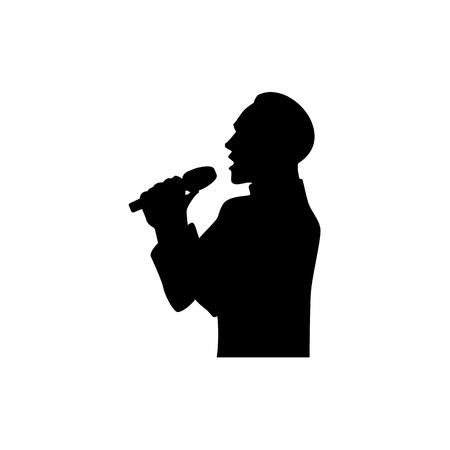 Ilustración de Half length portrait, figure of handsome man singing with microphone, black vector silhouette isolated on white background. Black silhouette of singing man, half length portrait - Imagen libre de derechos