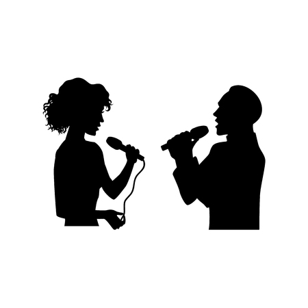 Illustration for Half length portrait, figures of man and woman singing with microphones, black vector silhouette isolated on white background. Black silhouettes of man and woman singing together - Royalty Free Image