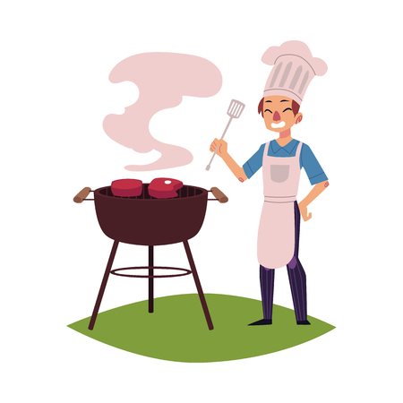 Illustration pour Happy man in chef hat and apron roasting meat on barbecue grill, holding turner, cartoon vector illustration isolated on white background. Happy young Caucasian chef cooking steaks on barbecue grill - image libre de droit