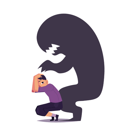 Ilustración de Fear, phobia shown as scary black monster shadow hanging over frightened man, cartoon vector illustration isolated on white background. Concept of mental disorder, phobia, fear as black monster shadow. - Imagen libre de derechos