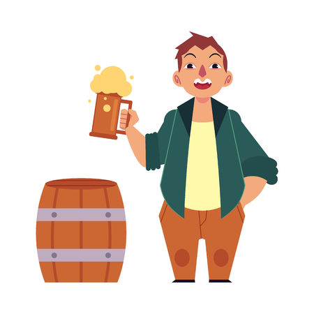 Ilustración de Vector cartoon beer lover - adult man with big beer belly holding mug of golden lager cool beer with thick foam, wooden beer keg, barrel. Isolated illustration, white background - Imagen libre de derechos