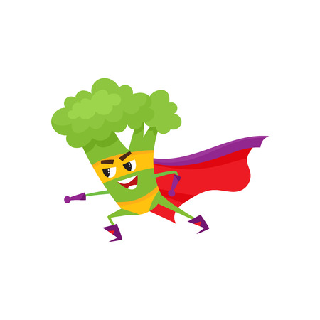 Ilustración de Vector flat cartoon broccoli character in red cape, mask standing in fight position. Isolated illustration on a white background. Funny fruit, vegetable super hero protecting people health. - Imagen libre de derechos