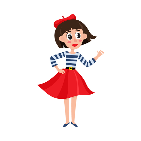 Ilustración de Vector flat cartoon beautiful young woman in red felt beret, long skirt, striped t-shirt smiling. French, Parisian style female portrait full length. Isolated illustration on a white background. - Imagen libre de derechos