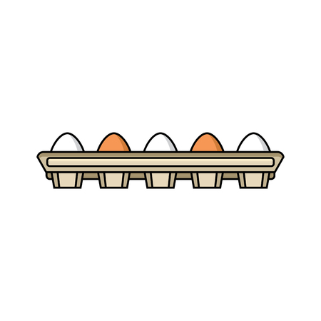 Illustration for vector flat chicken hen brown, white eggs in cardboard egg box isolated icon. Illustration on a white background. Farm poultry chicken objects for advertising, poster design. - Royalty Free Image