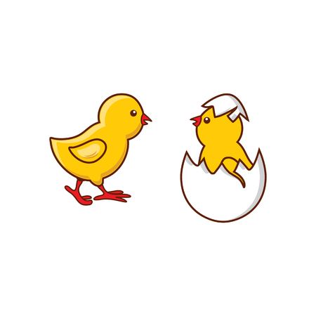 Illustration pour vector flat cute baby chicken, yellow small chick hatching from egg set. Flat bird animal, isolated illustration on a white background, poultry, farm organic food products advertising design object. - image libre de droit