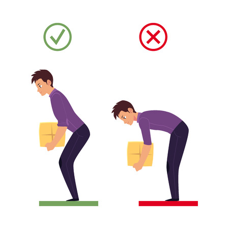 Illustrazione per Correct, incorrect back spine alignment of young cartoon man character lifting weight. Healthy and unhealthy spine curvature, Spine care concept. Vector isolated illustration on a white background. - Immagini Royalty Free