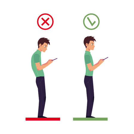 Illustrazione per Correct and incorrect neck and spine alignment of young cartoon man character using smartphone. Healthy head bending positions, inclination of neck. Spine care concept isolated illustration. - Immagini Royalty Free