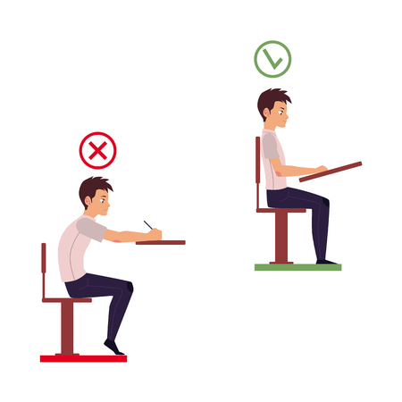 Ilustración de Correct and incorrect neck and spine alignment of young cartoon man character sitting at desk writing. Head bending positions, inclination of neck. Spine care concept isolated illustration. - Imagen libre de derechos