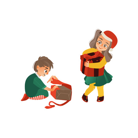 Ilustración de vector flat kids with presents. Young girl kid in red christmas hat standing holding big present box with , caucasian boy sitting opening present box. Isolated illustration on a white background. - Imagen libre de derechos