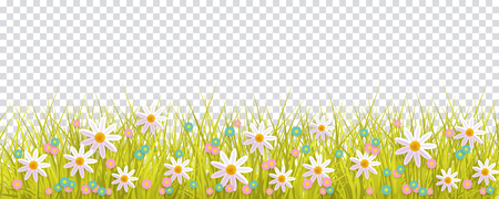 Ilustración de Spring grass and flowers border, Easter greeting card decoration element, flat vector illustration isolated on transparent background. Easter decoration element with spring grass and meadow flowers - Imagen libre de derechos