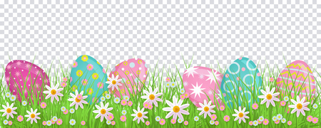 Illustration pour Painted egg lying in spring grass and flowers, Easter decoration border, flat vector illustration isolated on transparent background. Easter decoration element with painted eggs and spring flowers - image libre de droit