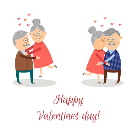 Illustration pour Elderly couple in love dating Valentine's day vector set. Cartoon characters, woman kissing man in cheek, man holding woman on hands isolated illustration on a white background. - image libre de droit