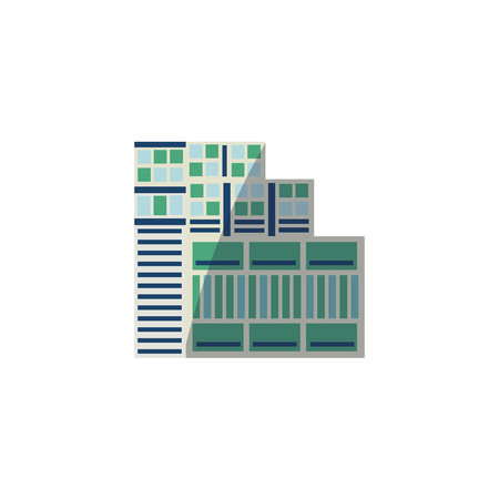 Illustration pour Flat vector style skyscraper, business center, high rise building with round top, vector illustration isolated on white background. Flat high rise building, sky scraper, business center and rounded roof icon. - image libre de droit