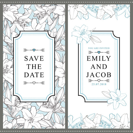Illustration pour Set of two vertical wedding invitation designs with beautiful hand-drawn white lily flowers, vector illustration. Save the date, wedding invitation templates with white lily flowers and place for text - image libre de droit