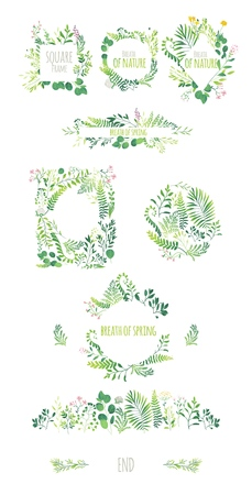Illustration pour Big set of ecological style round and square frames, decorations elements, borders made of green leaves, twigs, herbs, flowers and branches, flat doodle vector illustration isolated on white background. - image libre de droit