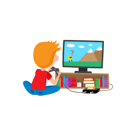 Illustrazione per Boy playing game console using TV and joystick sitting on the floor, cartoon vector illustration isolated on white background. Full length rear view portrait of boy playing video game on a console. - Immagini Royalty Free