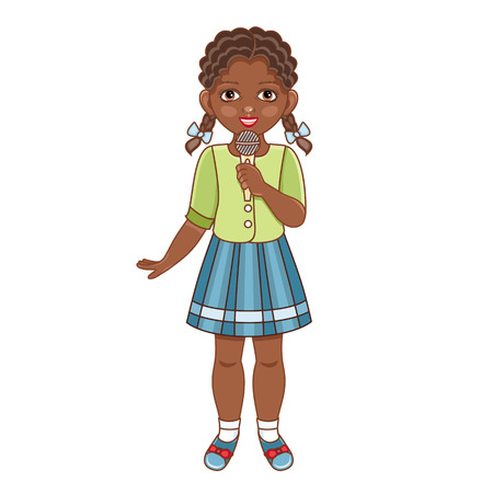 Illustration pour Vector flat african american black girl in summer clothing with pigtails, skirt singing at microphone. Isolated illustration, female child, kid character, white background - image libre de droit