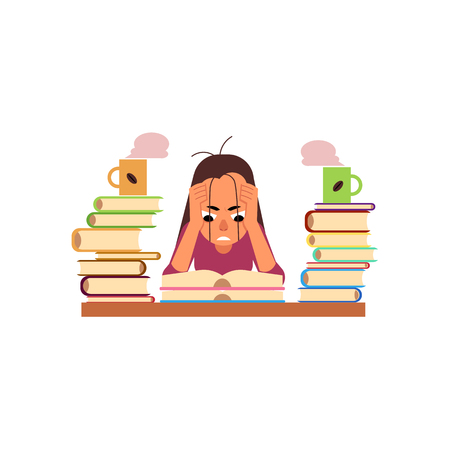 Illustration pour Vector flat exhausted tired angry girl student or worker sitting at table with books pile and coffee cup. Overwork or studying exams concept. Education and stress concept. Isolated illustration - image libre de droit