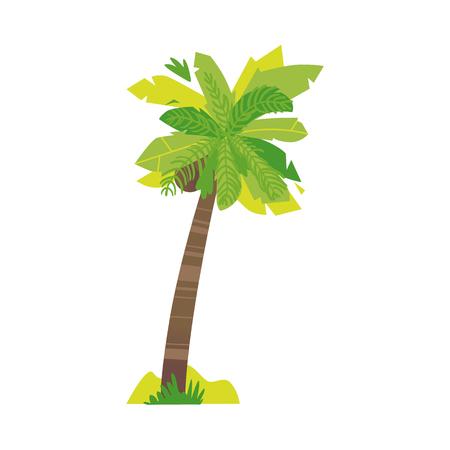 Ilustración de Stylized flat style cartoon coconut palm tree, vector illustration isolated on white background. Flat cartoon vector illustration of coconut palm tree, summer beach vacation element - Imagen libre de derechos