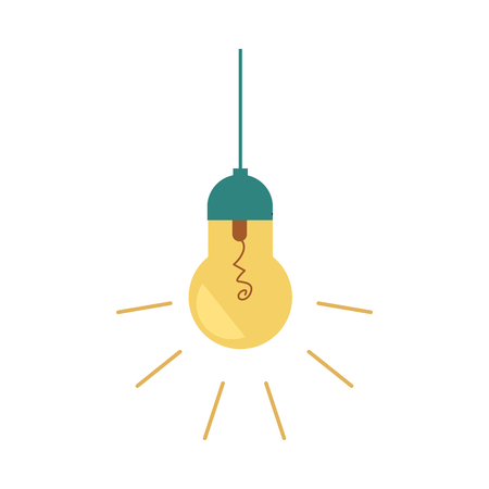 Illustrazione per Vector flat light bulb lighting lamp icon. Business idea, electric energy, creative solution, invention power concept. Isolated illustration on a white background. - Immagini Royalty Free