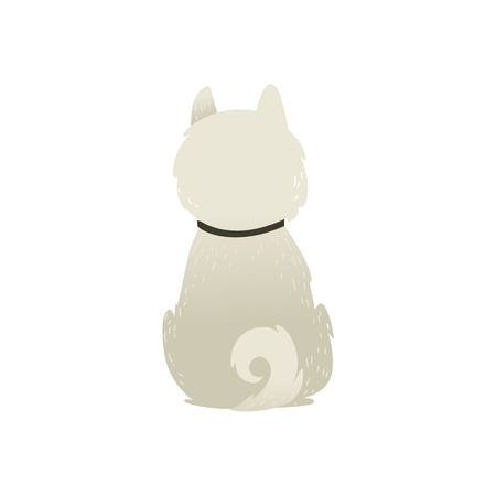 Illustrazione per Back view of sitting dog alone on white background, vector illustration. Fluffy white puppy with a collar and a swirling tail sitting to our backside. - Immagini Royalty Free