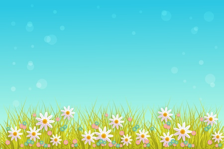 Illustration pour Spring grass and flowers border on blue sky background with empty space for text. - image libre de droit