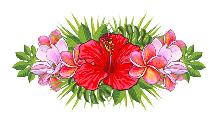 Illustration for Tropical flowers beautiful isolated composition with hand drawn exotic blooms of hibiscus, magnolia and plumeria and green palm leaves for wedding, greeting card or invitation, vector illustration. - Royalty Free Image
