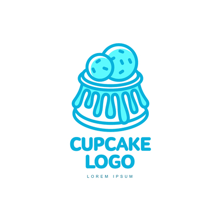 Illustration pour Cupcake muffin sweet dessert food bright line logo icon. Adhesive sticker, label, tag cream pastry decoration element for celebration party design, bakery store. Vector flat isolated illustration. - image libre de droit