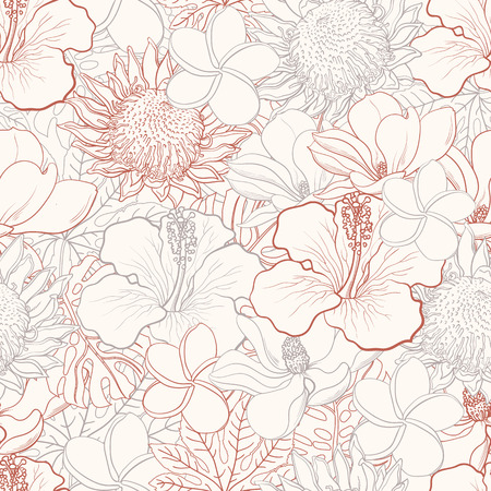 Ilustración de Tropical flowers seamless pattern with white hand drawn exotic blooms of hibiscus, magnolia and palm leaves with colorful line contour. Floral vector illustration in sketch style. - Imagen libre de derechos