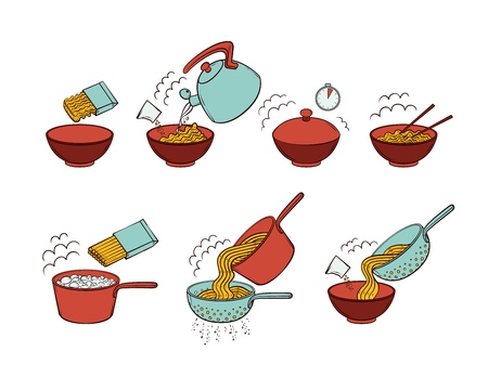 Illustration pour Step by step instant noodle and pasta cooking instructions, hand drawn, sketch style vector illustration isolated on white background. Cooking instant noodles and spaghetti, hand-drawn instructions - image libre de droit