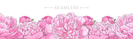 Illustration for Elegant pink peonies border seamless pattern isolated on white background. Hand drawn gentle blossom flower element for romantic wedding greeting card or invitation. Vector illustration. - Royalty Free Image