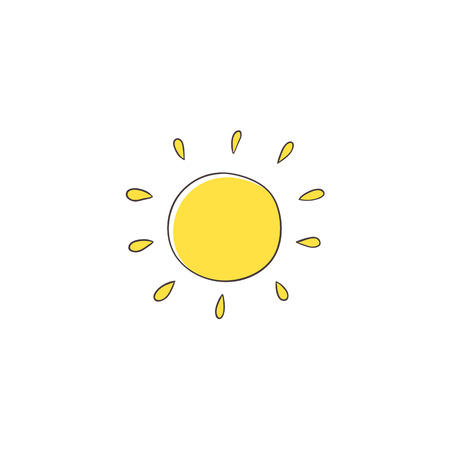 Illustration for Flat cartoon vector illustration on sun imitating a kid, child drawing isolated on white background. Stylized, simple, na ve hand drawing of yellow sun - Royalty Free Image