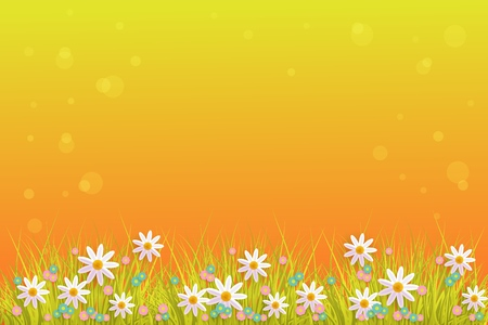 Illustration pour Green meadow grass, daisy chamomile flowers on orange sunset bubble background. Spring summer sale, festive template for retail poster and advertising design wtih space for text. Vector illustration - image libre de droit