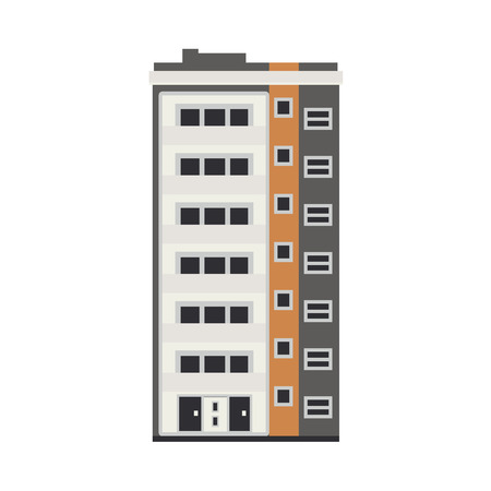 Illustration pour City apartment house front view in flat style isolated on white background. Modern high-rise building exterior with windows, balconies and doors real estate and property concept vector illustration. - image libre de droit
