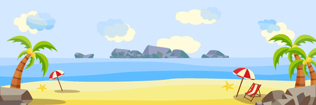 Illustration for Vector flat seaside coastline natural landscape. Tropical beach party poster, banner background template. Illustration with sea, ocean cloud sky sand lounger sun umbrella palm vacation travel holiday - Royalty Free Image