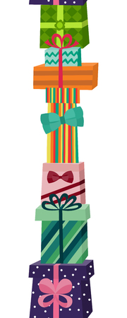 Illustration for Pile of gifts and presents in colourful wrapping paper, - Royalty Free Image