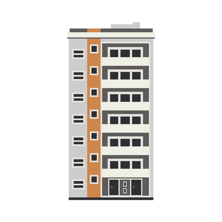 Illustration pour Apartment building house exterior icon. City modern architecture, dormitory area object. Dwelling house, residental building skyscraper. Cityscape design element. Vector flat illustration - image libre de droit