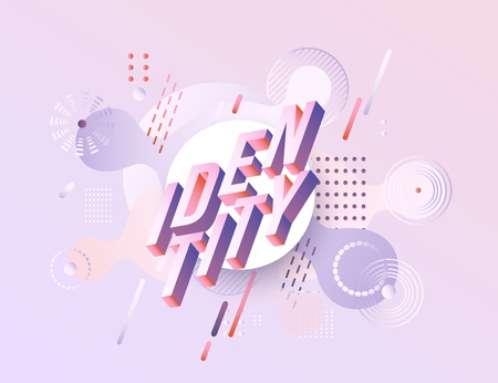 Illustration pour Trendy identity poster, banner background template vibrant gradient purple red violet color abstract geometric shapes. Vector modern, corporate identity, branding advertising layout - image libre de droit