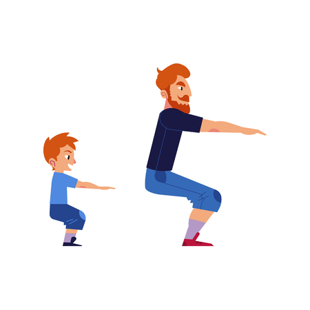 Illustration pour Sport family concept with father and son doing exercises and squat isolated on white background. Man sets example of healthy and active lifestyle for his kid boy. Cartoon vector illustration. - image libre de droit