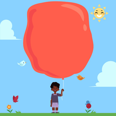 Illustration pour Little african boy with extremely big red balloon for copy space on blue sky background. Child with balloon in summer sunny day, cartoon colorful vector illustration. - image libre de droit