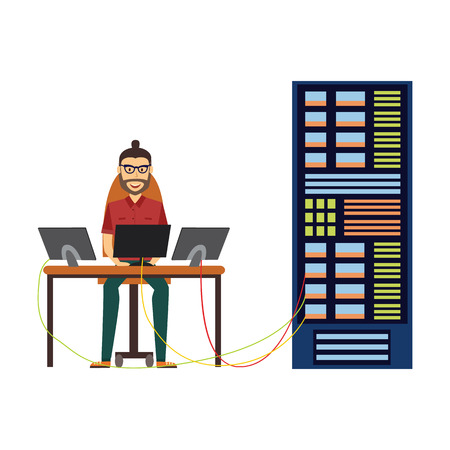 Ilustración de Modern IT specialist man in glasses installing software in computer server rack at data center, database icon. Hardware information storage, internet cloud computing symbol. Vector flat illustration. - Imagen libre de derechos