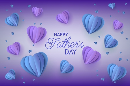 Ilustración de Fathers Day congratulation card with trendy blue and violet folded paper heart shapes and greeting sign on gradient background - holiday vector illustration with origami elements. - Imagen libre de derechos
