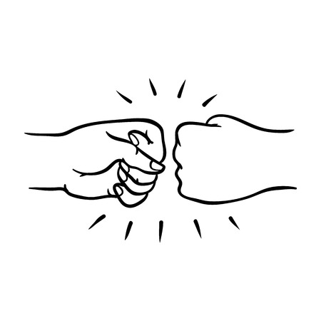 Illustration for Two human hands giving fist bump gesture in sketch style isolated on white background - hand drawn vector illustration of pair of wrists greeting each other with fist together. - Royalty Free Image