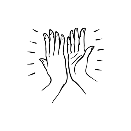Illustration pour Hand gesture of two people giving each other high five in sketch style isolated on white background. Hand drawn black line vector illustration of hands palms joining together. - image libre de droit