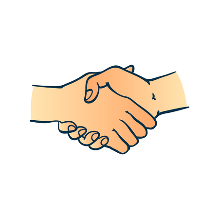 Illustration for Two human hands shaking symbol in sketch style isolated on white background - hand drawn colorful greeting or business deal concept with wrists in handshake gesture. - Royalty Free Image
